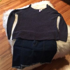 Dresses & Skirts - Jean mini shirt with open shoulder sweater